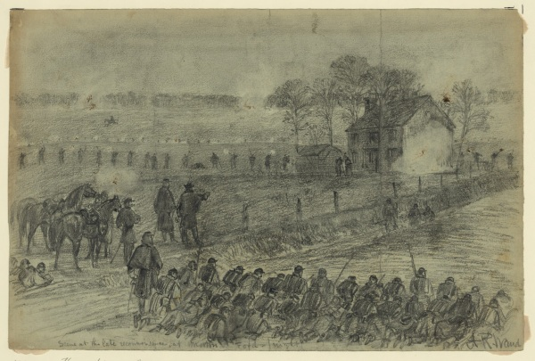 "Artist Alfred Waud captured in pencil the same scene Lyman sketched in words. He titled this drawing ""Scene at the late reconnaisance at Morton Ford -(night). It appeared as an engraving in Harper's Weekly on March 5, 1864. Click to enlarge (Library of Congress)."