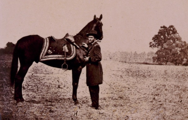Ulysses S. Grant with his horse Cincinnati (Library of Congress).