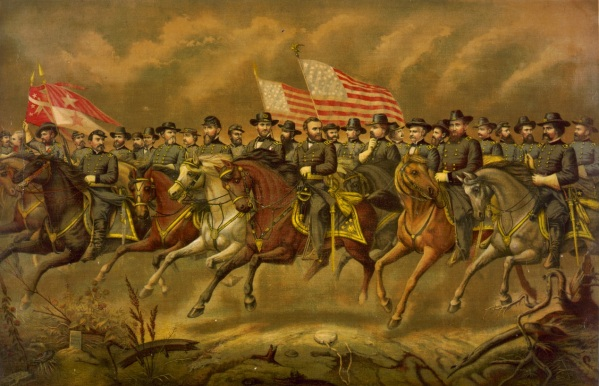 "In this print, titled ""Grant and his Generals,"" George Meade does make an appearance off to Grant's right (Library of Congress)."