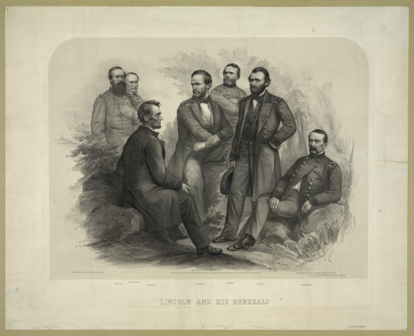 """This print, titled """"Lincoln and His Generals,"""" shows the president with Admirals Porter and Farragut and Generals Sherman, Thomas, Grant and Sheridan. In typical fashion, Meade is not included (Library of Congress)."""