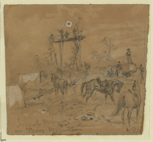 Alfred Waud sketched the Union signal position that Meade and his son saw on Pony Mountain (Library of Congress).