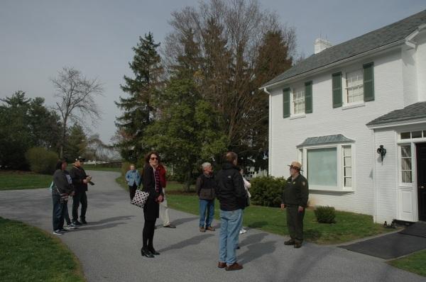 Outside the Eisenhower's house in Gettysburg