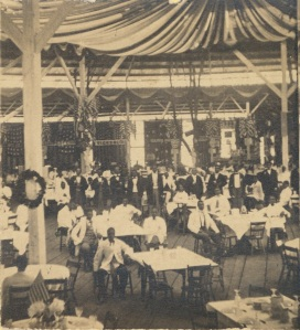 The Philadephia fair's dining saloon, in one of the temporary buildings erected in Logan Square (Library of Congress).