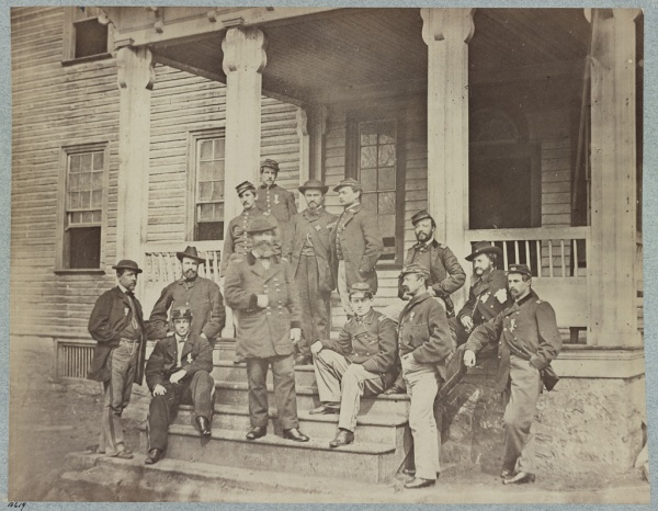 Maj. Gen. John Sedgwick, commander of the VI Corps, and his staff. Both Meade and Lyman wrote about the review of the VI Corps on April 18 (Library of Congress).