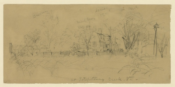 """At Totopotomoy Creek,"" a drawing Alfred Waud did around this time 150 years ago. Click to enlarge (Library of Congress)."