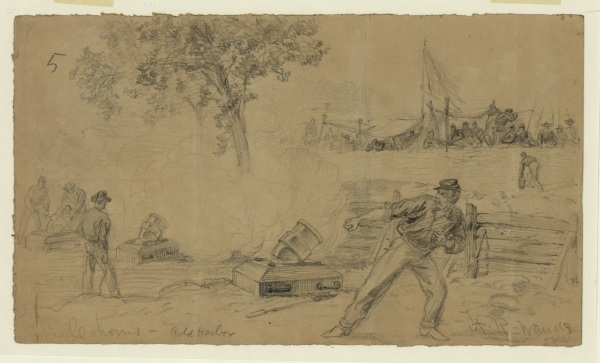Alfred Waud sketched the firing of a coehorn mortar at Cold Harbor. Click to enlarge (Library of Congress).