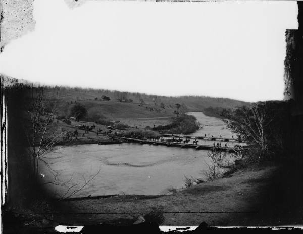 Elements of the Army of the Potomac cross the Rapidan River at Germanna Ford on May 4, 1864 (Library of Congress).