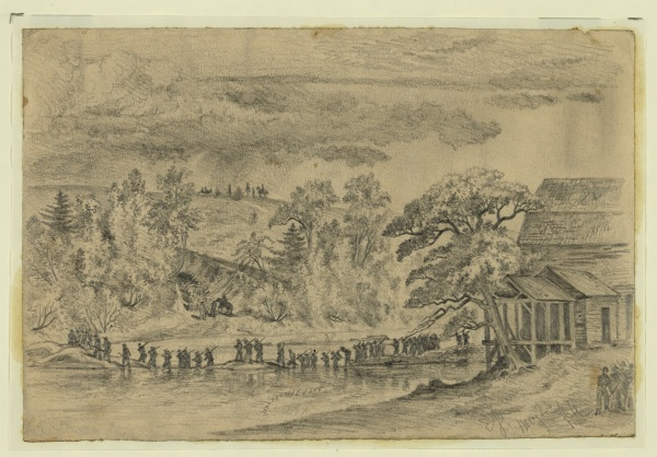 "Edwin Forbes titled this sketch from May 23 ""The Army of the Potomac (5th Corps) crossing the North Anna, at Jerico Ford."" Click to enlarge  (Library of Congress)."
