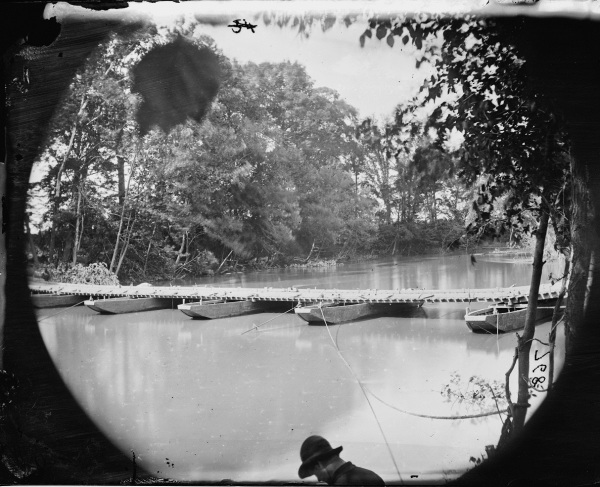 This Timothy O'Sullivan photo shows a second crossing of the Pamunkey at Nelson's. The setting today is remarkably similar to what it was like then, minus the pontoon bridge (Library of Congress).