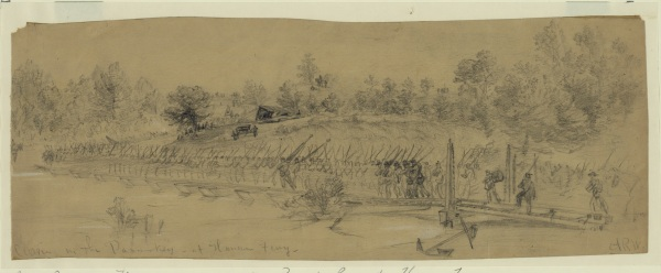 Alfred Waud depicted a portion of the Army of the Potomac crossing the Pamunkey River at Hanovertown on May 28. click to enlarge (Library of Congress).
