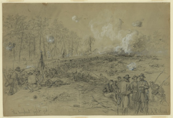 "Alfred Waud called this sketch ""The toughest fight yet. The fight for the salient"" (Library of Congress. Click to enlarge)."