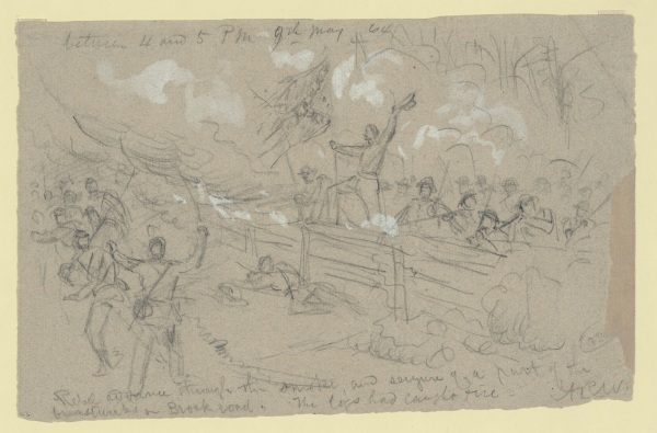 "Artist Alfred Waud labeled this drawing ""Rebel advance through the smoke, and seizure of a part of the breastworks on Brock road. The logs had caught fire."" It depicted fighing that took place later in the day on May 6. Click to enlarge (Library of Congress)."