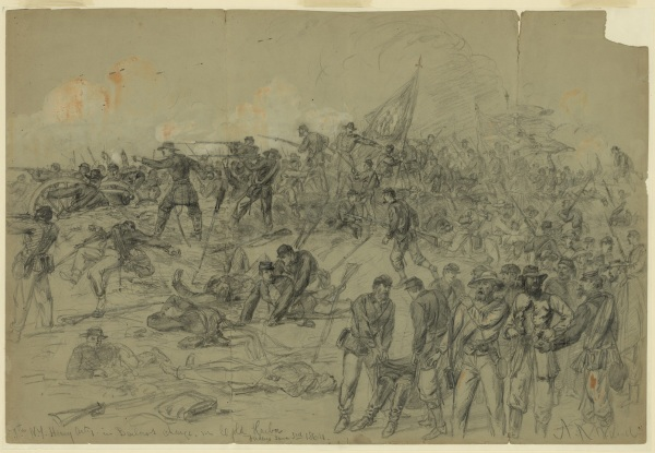"Alfred Waud identified this drawing from June 3 as ""7th N.Y. Heavy Arty. in Barlows charge nr. Cold Harbor Friday June 3rd 1864."" Click to enlarge (Library of Congress)."