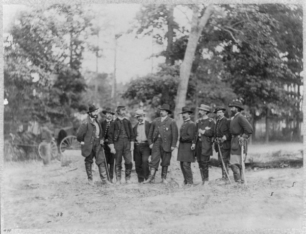 "William F. ""Baldy"" Smith and his staff at Cold Harbor (Library of Congress)."
