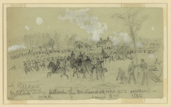 """Barlow and Gibbons charge between the Mechanicsville road and swamp, June 3rd, 1864."" By Alfred Waud. Inscribed on the back: This was a prominent position at the battle of Gaines Mill 1862. Our line was then at right angles to the present advance and faced to the right. Barlow charged to the left of the house, and Gibbon on the right."" Inscribed vertically: ""Gains [sic] Mills or Cold Harbor/Gen Barlows & Gibbons June 3rd 1864."" Click to enlarge (Library of Congress)."