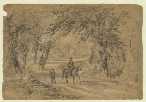"""Bridge Through the Chickahominy Swamp"" by Alfred Waud depicts the landscape the Army of the Potomac would have to cross on its flanking movement (Library of Congress)."