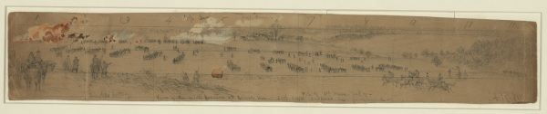 "Alfred Waud labled this drawing ""June 2nd Position nr. Cold Harbor--rifle pits in the front."" On the back he wrote, ""A union battery held this hill at the battle of Gaines Mill tenaciously from a position near the buildings looking to the right of the picture, at right angles to the present line of battle."" Click to enlarge (Library of Congress)."