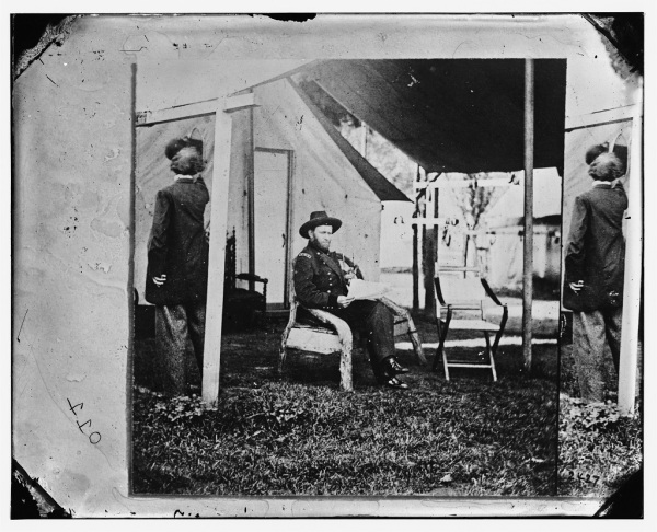 Grant along, with photographer Brady appearing at the edges. This appears to be half of a stereo image.