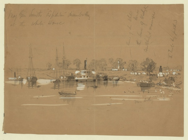 "Artist William Waud sketched the arrival of ""Baldy"" Smith and the XVIII Corps at White House landing on the Pamunkey on May 18. On the front Waud wrote, ""Ruins of the White House; the scene of Washington's courtship & marriage; the tent by Pilchard."" This White House belonged to Rooney Lee, son of Robert E. George Washington had indeed courted Martha here. On the back Waud wrote, ""This is only a small portion of the force shown here as there were many large vessels employed such as the John Brooks, the George Leary, the Escort, the Metamone[sic]-all similar to the Hudson river & sound boats but which I have not the opportunity of sketching if Mr Parsons has drawings of these vessels if the view is thought interesting enough they might be introduced covered with troops hanging on like bees. For description see the letters of Mr. Winser in the Times. W.W."" Harpers published an engraving on June 18. Click to enlarge (Library of Congress)."
