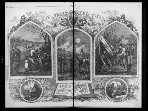 This Thomas Nast illustration from Harper's Weekly salutes the correspondents in the field (Library of Congress).