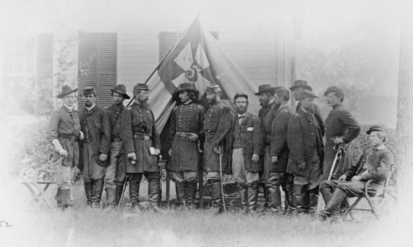 V Corps commander Gouverneur K. Warren and staff, photographed by Mathew Brady outside Petersburg on June 21. Warren had escaped Brady's attentions at Cold Harbor (Library of Congress).