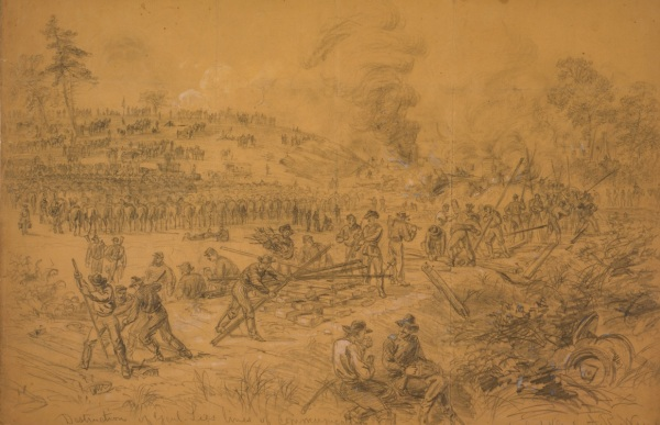 """Destruction of Genl. Lees lines of Communication in Virginia by Genl. Wilson"" by Alfred Waud. Click to enlarge (Library of Congress)."