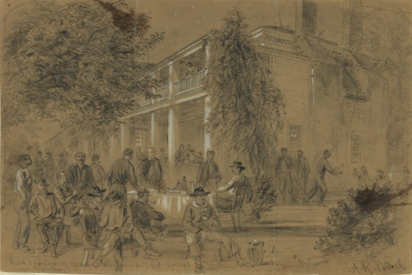 """Headquarters of Genl. Warren at Col. Avery's house-near Petersburg"" by Alfred Waud (Library of Congress)."