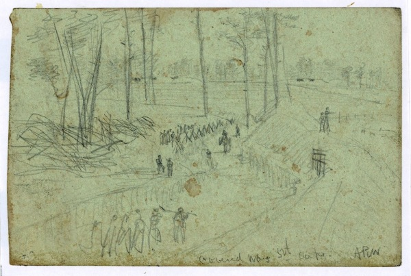 "Sometime in July or August 1864 Alfred Waud sketched a ""covered way"" used by the V Corps outside Petersburg (Library of Congress)."