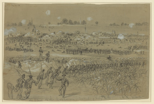 A depiction of the Battle of the Crater by Alfred Waud (Library of Congress).
