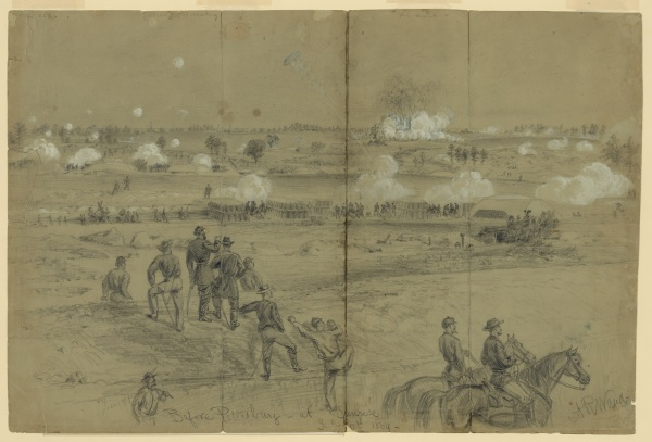 Artist Alfred Waud's description of his drawing: Explosion of the mine under the Confederate works at Petersburg July 30th 1864. The spires in the distance mark the location of the city; along the crest, in front of them are the defensive works, it was an angle of these that was blown up, with its guns & defenders. The explosion was the signal for the simultaneous opening of the artillery and musketry of the Union lines. The pickets are seen running in from their pits & shelters on the front, to the outer line of attack. In the middle distance, are the magnificent 8 & 10 inch Mortar batteries, built and commanded by Col. Abbott. Nearer is a line of abandoned rifle pits, and in the foreground is the covered way, a sunken road for communication with the siege works and the conveyance of supplies and ammunition to the forts. The chief Engineer of the A. of P. is standing upon the embankment watching progress throw [sic] a field glass (Library of Congress).