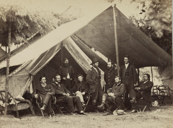 Ulysses S. Grant and his staff at City Point (Library of Congress).