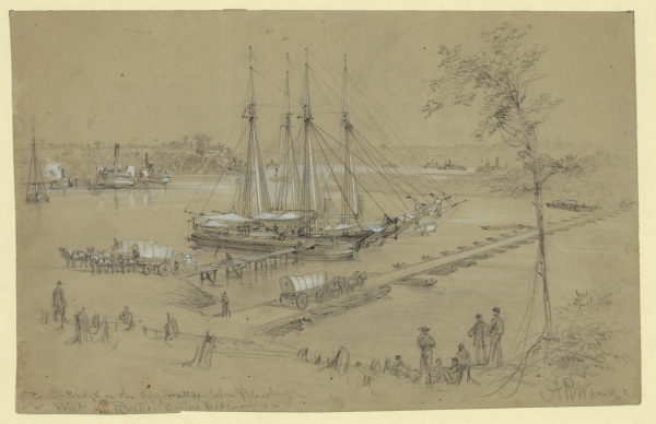 Alfred Waud sketched the activity at Point of Rocks near Benjamin Butler's headquarters (Library of Congress).