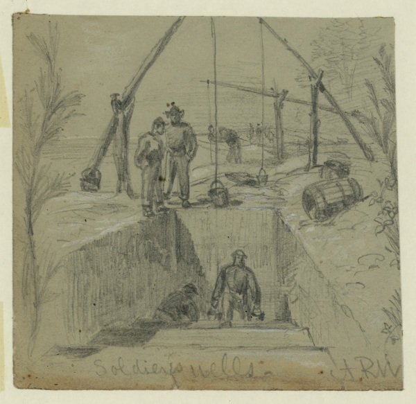 Soldiers dig wells in front of Petersburg in an illustration by Alfred Waud (Library of Congress).