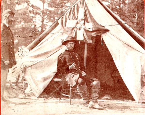 """This photograph of Horatio Wright was half of a stereographic image titled """"General Wright, Commander of the """"Bloody Sixth Corps"""" (Library of Congress)."""