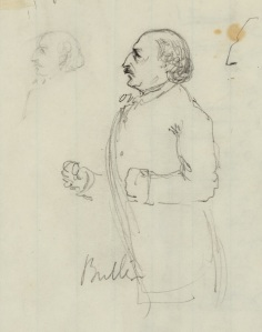 Detail of a sketch Alfred Waud made of Benjamin Butler (Library of Congress).