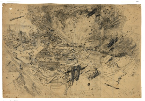 Alfred Waud depicted the explosion at City Point. Click to enlarge (Library of Congress).