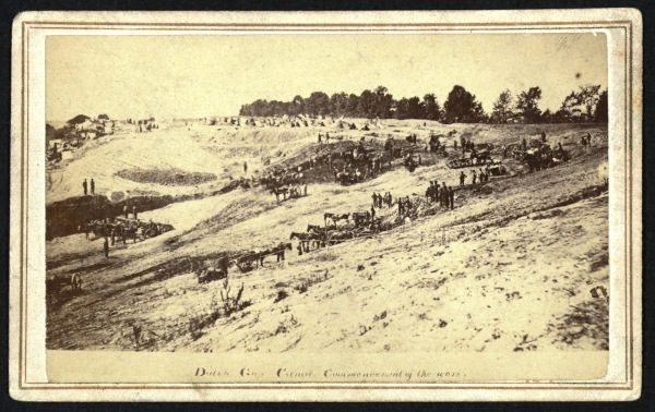 """Dutch Gap Canal, the commencement of the work"" (Library of Congress)."