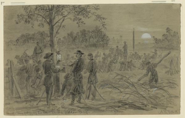 An Alfred Waud drawing depicts Gouverneur Warren at the Weldon Railroad, supervising the construction of entrenchments by moonlight Click to enlarge (Library of Congress).