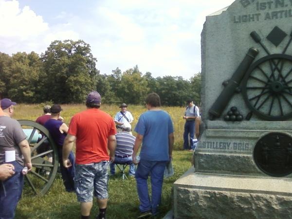Steve Slaughter explains things at the monument to Wilson's battery (Battery D, 1st NY Light artillery).