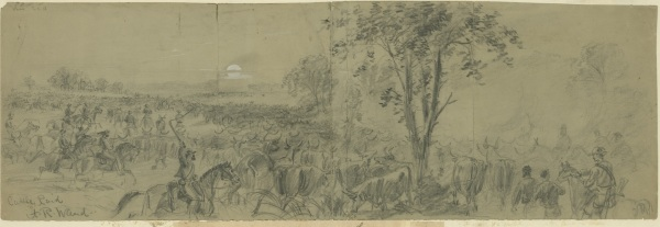 """""""Cattle Raid"""" by Alfred Waud. The artist described it as, """"Confederate cattle raid Sept. 16th 1864. Genl. Wade Hampden [sic] suddenly appeared at Coggins point in the rear of the army, on the James river, and carried off the entire beef supply, about 2500 head of cattle. The rebel soldiers were much inclined to joke with the pickets on the loss of their meat rations; the Union men, on the other hand, thanked them heartily for removing the tough remnants of herds that had been driven behind the army all summer and which were at once replaced by a fresh stock much fitter for the table."""" Click to enlarge (Library of Congress)."""
