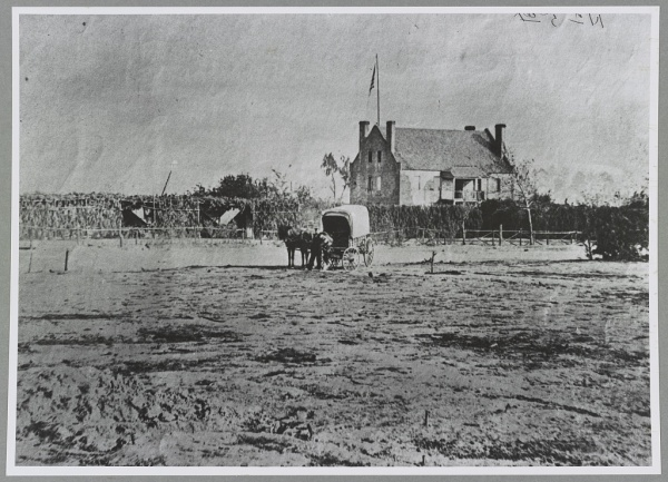 Globe Tavern, a landmark near the Weldon Railroad. The information for this image at the Library of Congress identifies the tavern as having been Meade's headquarters at Malvern Hill, which is not true. Meade was sent home wounded before that battle (Library of Congress).
