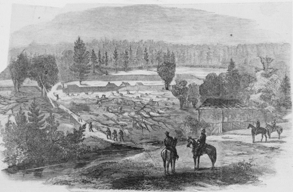 "Armstrong's mills and rebel works on ""Hatcher's Run, captured by the Second Corps, October 27, 1864 / sketched by C.H. Chapin,"" as it appeared in Harpers Weekly (Library of Congress)."