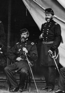Meade and John Parke appear together in a photo taken in June 1865. Click to enlarge (Library of Congress).