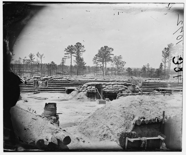 A view of the fortifications at Petersburg. Click to enlarge (Library of Congress).