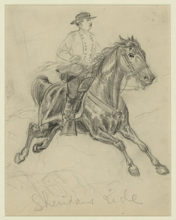 """Sheridan's Ride,"" a sketch by Alfred Waud, depicted Sheridan's timely return for the Battle of Cedar Creek (Library of Congress)."