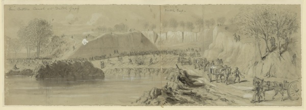 "Artist William Waud sketched the activity at ""Ben Butler's canal at Dutch Gap."" Click to enlarge (Library of Congress)."