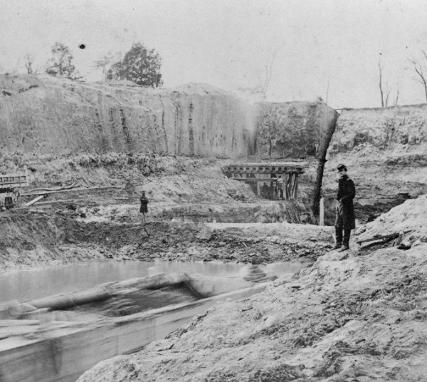 In his letter, Meade mentions the Dutch Gap Canal. Benjamin Butler had initiated the digging of the canal on the James River to bypass Confederate forts. It wasn't completed until after the war (Library of Congress).