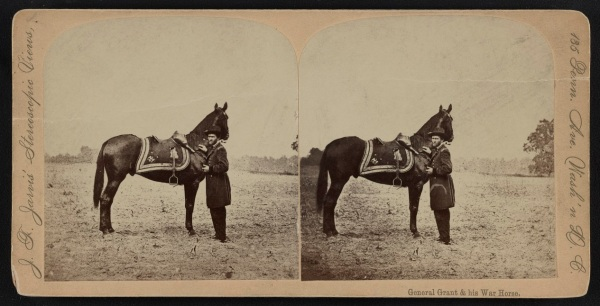 Ulysses S. Grant and his horse, Cincinnati. Click to enlarge  (Library of Congress).