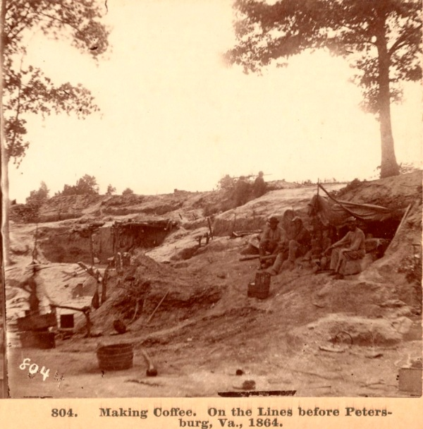 African-American soldiers make coffee in the Petersburg entrenchments (Library of Congress).