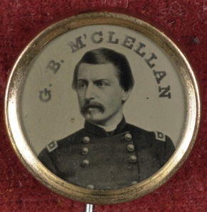 A McClellan campaign pin (Library of Congress).